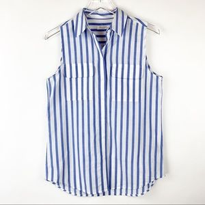 Equipment Sleeveless Buttondown Striped Cotton Top